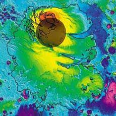 Imagem de radar mostra gelo no pólo sul de Marte; camadas mais grossas em vermelho