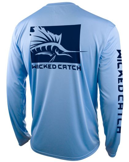 Wicked catch men 39 s long sleeve performance fishing shirt for Spf shirts for fishing