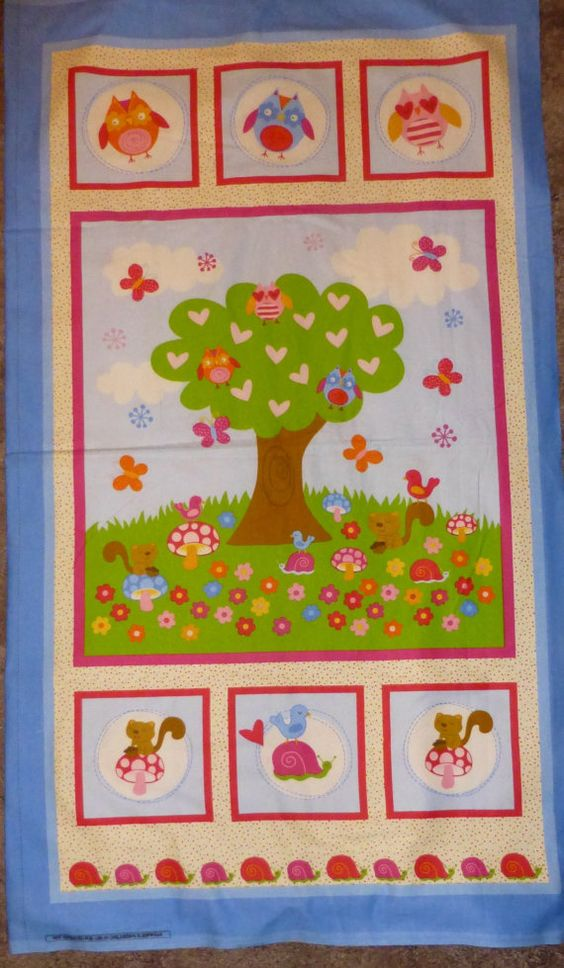 """Flannel Fabric Panel, Owls in a Tree, 23"""" x 42"""", Butterflies and Other Animals https://www.etsy.com/shop/suesfabricnsupplies"""