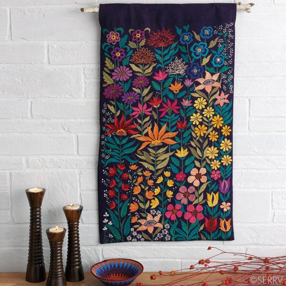 Embroidered Bright Garden Wall Hanging