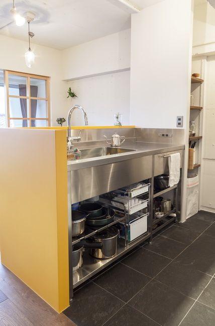 業務用キッチン インテリア コーディネート例 視線を遮る 設計 立ち上がり