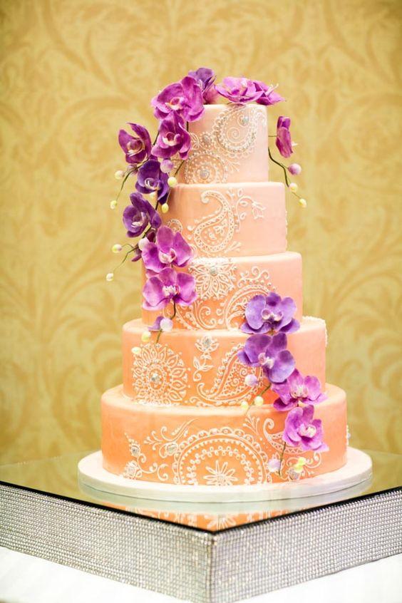 Purple Flowers On A Wedding Cake Traditional Indian Wedding In Rhode Island