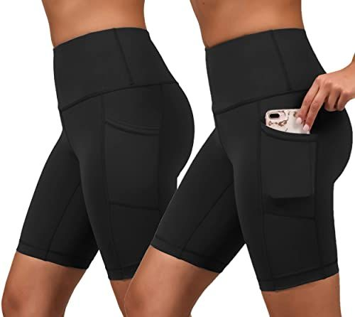 Yogalicious High Waist Squat Proof 9 Biker Shorts with Side Pockets for Women