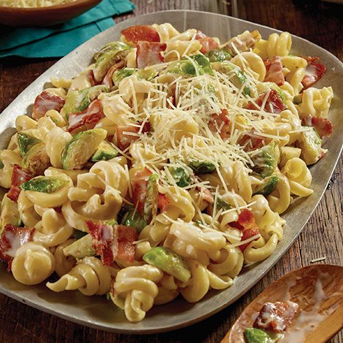 Creamy Bacon Pasta With Brussels Sprouts Kroger Recipe Bacon Pasta Brussels Sprouts Recipe Brussel Sprouts