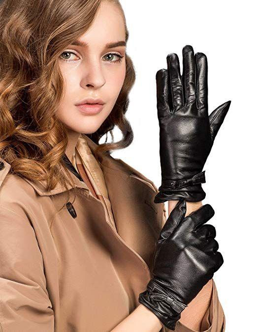Elegent Lady Women Long Leather Gloves Winter Evening Party Full Finger M-XL