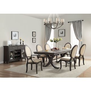 Rosario 7 Piece Dining Room Set Cherry And Beige Traditional Dining Rooms Dining Table Setting Trestle Base Dining Table
