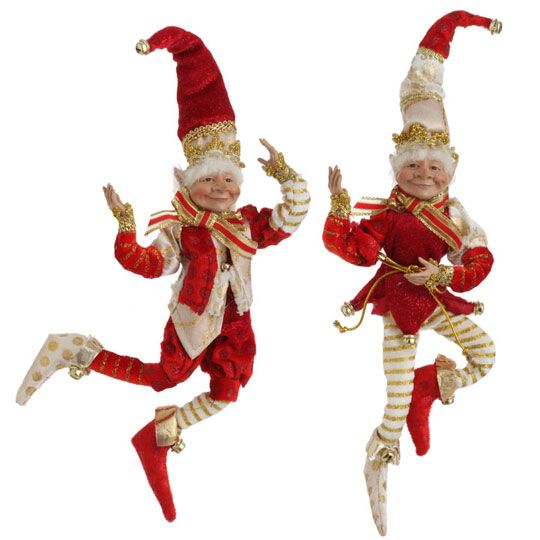 RAZ Holiday Reflections 11 inch Posable Elf set of 2 | Christmas-Elves ...
