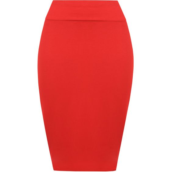 Tonya Basic Bodycon Pencil Skirt (¥1,270) ❤ liked on Polyvore featuring skirts, red, high waist skirt, high-waisted pencil skirts, red jersey, red bodycon skirt and red skirts