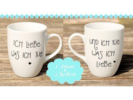 Tasse☆ICH LIEBE WAS ICH TUE☆Siebdruck☆ von Trudl & Traudl - Sauerkraut und Polka! - auf DaWanda.com #tasse #kaffee #liebe #ichliebewasichtue #siebdruck #herz #porzellan