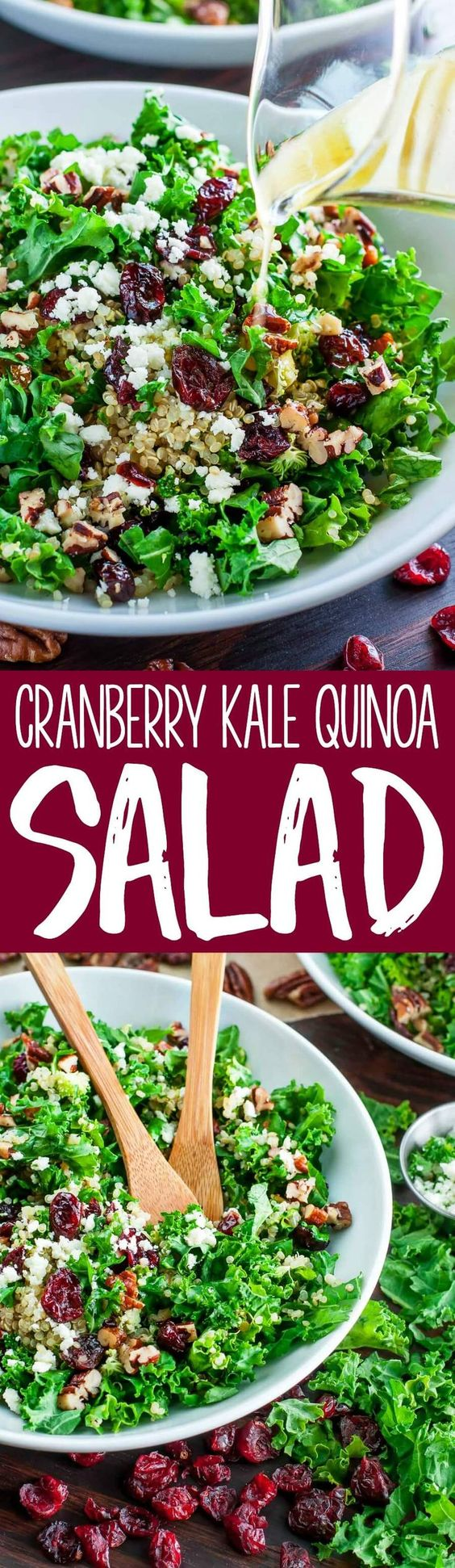 Cranberry Kale Quinoa Salad with Candied Pecans and Feta ...