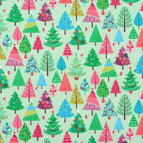 17,50 €/m Weihnachten Makower Festive Bäume Patchwork Stoff 50x110 cm