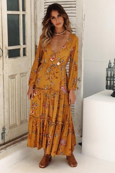 Adela Boho Maxi Dress in 2020   Maxi dress with sleeves