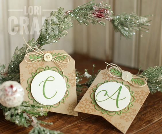 Monogrammed handmade Christmas gift tags