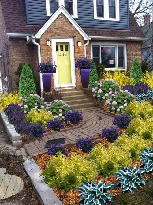 Design color front yard landscaping and front yards on for Colorful front yard garden plans