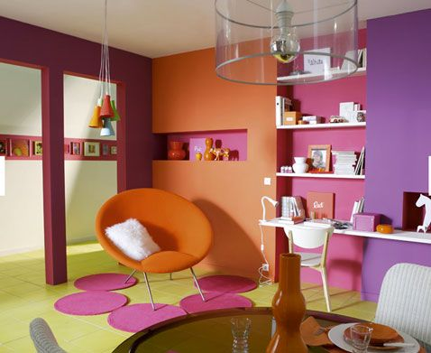 Couleurs vives pour salon orange fushia vert anis violet pinterest d coration d co et for Peinture chambre orange et gris