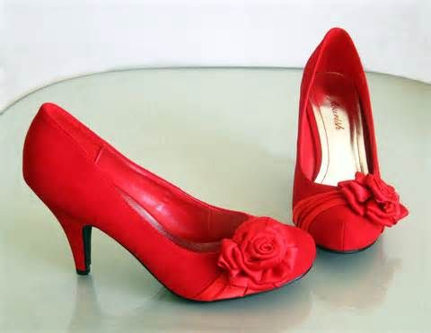 Red Kitten Heel Shoes floral - Bing Images | My Style wedding