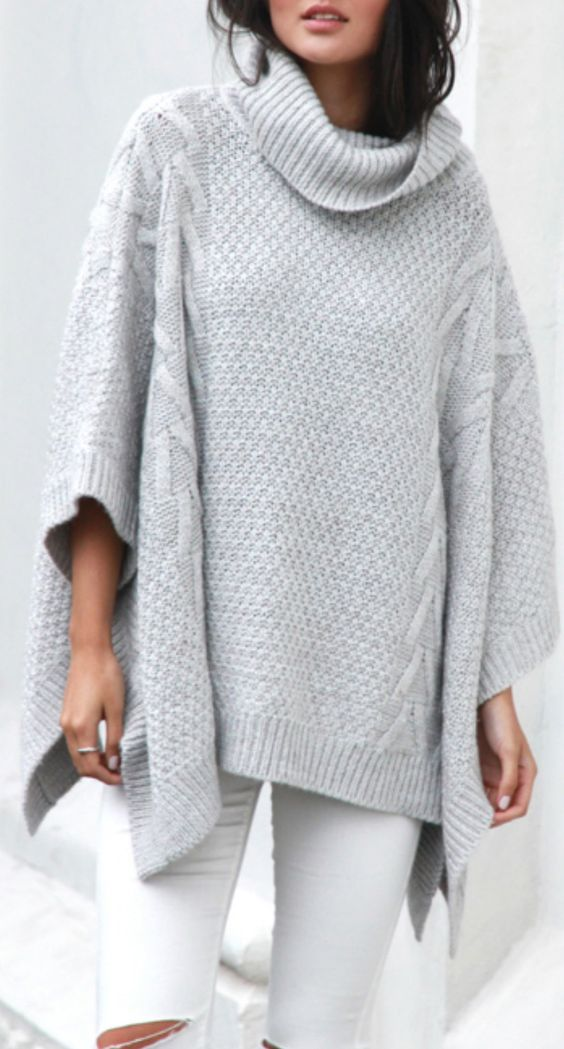 Winter Fashion Modern Country 2017: The Dove Grey Poncho