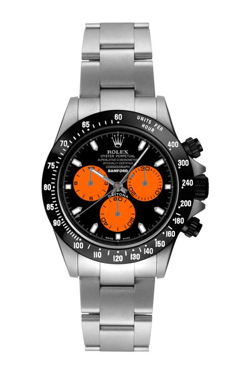 Steel Daytona With Orange And Black Dial by Bamford: