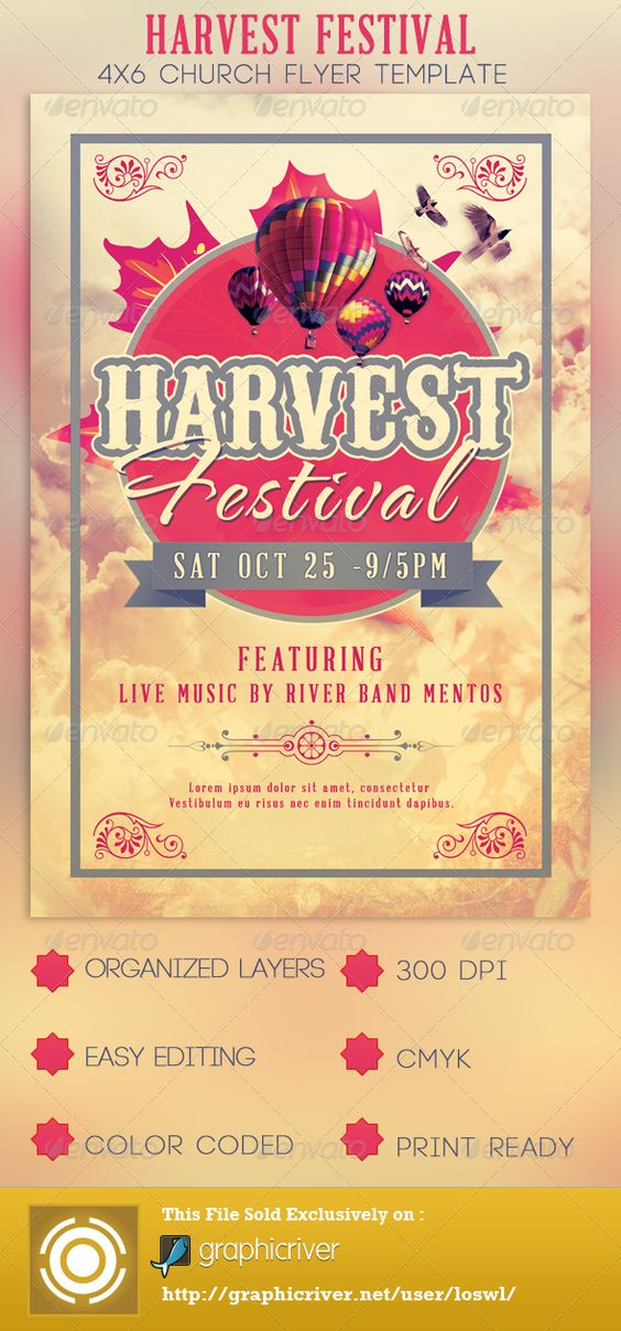 Harvest Festival Church Flyer Template Festivais de colheita - christian flyer templates