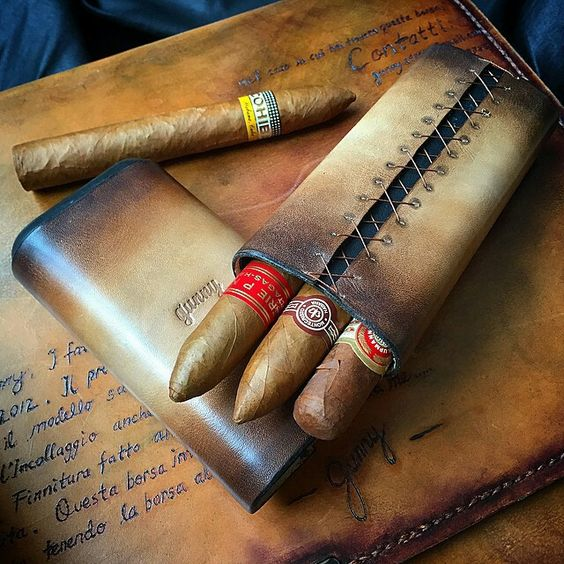 Gunny Leather Cigar Case, customizable with your name on it.: