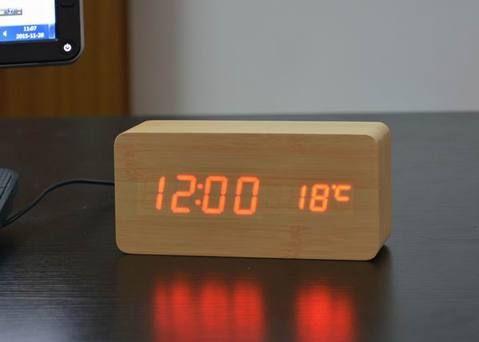 Type Alarm Clocksfeature Luminova Calendarsstyle Modernmaterial Bamboo Amp Woodenwidth 40mmmotivi Digital Table Clock Table Alarm Clock Led Alarm Clock