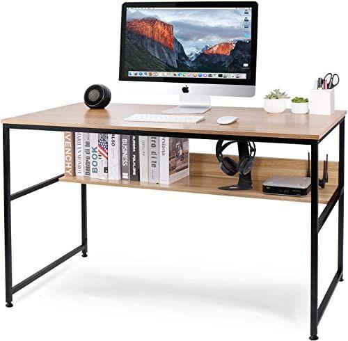 Best Seller Homekoko 47 Inches Computer Desk Storage Bookshelf Home Office Study Desk Table Metal Frame Online Prettyfashionclo In 2020 Office Desk Desk Storage Home Office Desks