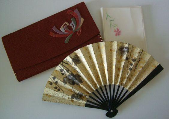 Fukusa basami flat wallet and fan, vintage Japanese tea ceremony purse