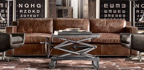Restoration Hardware leather sofa. so so comfy!