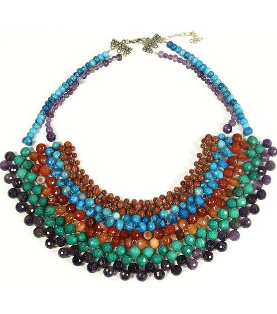 #DIY Beaded Bib Necklace fro Jo-Ann Fabric and Craft Stores: Stone Age, Jewelry Necklaces, Diy Necklaces, Necklaces Pendants, Jewellery Necklaces, Crown Jewels Necklaces, Bib Necklaces, Jewelry Beaded Necklaces