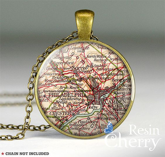 vintage Philadelphia map necklace pendant,resin pendants,map charm jewelry,map pendant charm,Pennsylvania- M1217CP. $11.95 USD, via Etsy.