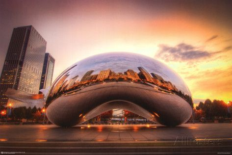 Chicago Cloud Gate Sunset Poster bei AllPosters.de