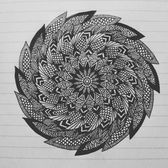 """First attempt on spiral mandala. #art #mandala #zentangle"""