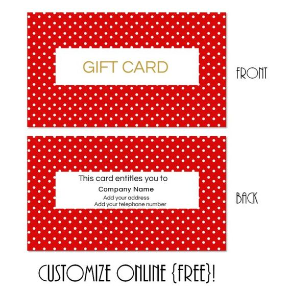 Free printable gift card templates that can be customized online - fillable gift certificate template
