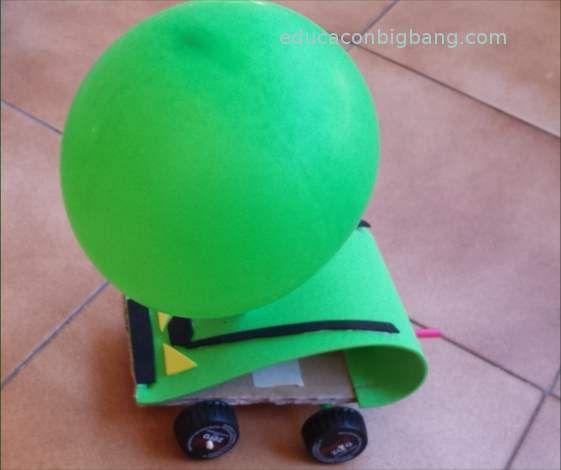 Coche propulsado por globo: acción y reacción.