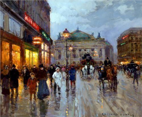 Edouard Leon Cortes(1882ー1969)「LA PLACE DE L'OPERA」