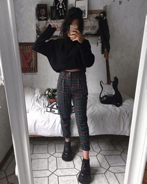"Rama lama on Instagram: ""1 or 2?🌷 *anzeige(Verlinkungen) • • • • • • #alternativefashion #plaidpants #darkfashion #grungeaesthetic #grungestyle #outfitinspo…"""