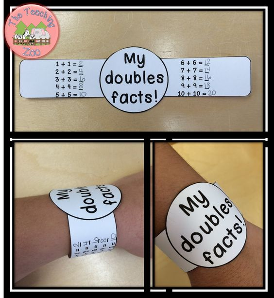 Make learning Fun!!  Math Doubles Facts Addition Bracelets: