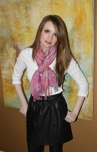 leather skirt, scarf