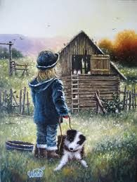 Image result for pa oil paintings of kids playing on the farm