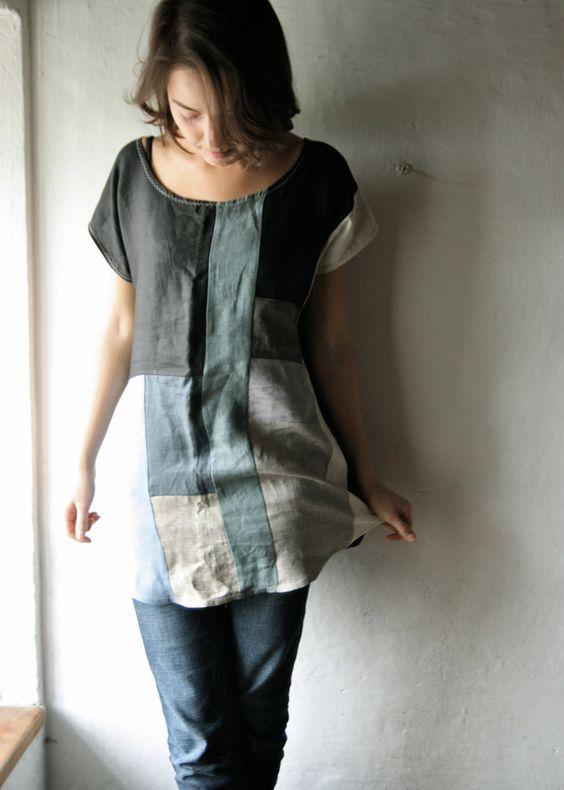 Linen Tunic dress - loose shift dress for women patchwork tunic top blouse short sleeved tshirt. €140.00, via Etsy.: