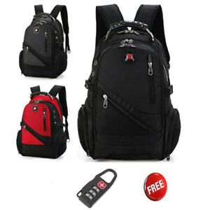 Men Women Swiss Wateproof Laptop Backpack Computer Notebook School Travel Bag