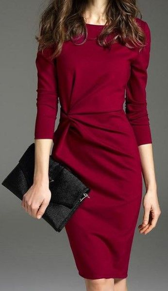 $33.99 Fashion Commuting Round Neck 3/4 Sleeve Bodycon Dress