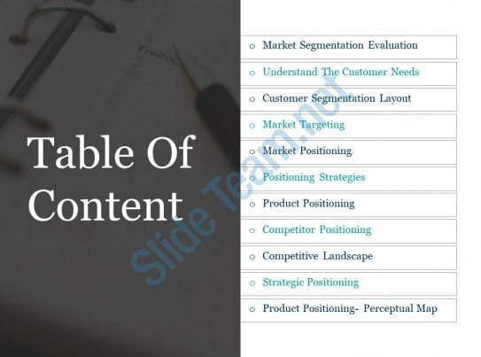 Table Of Content Powerpoint Slide Deck Template Slide01 Powerpoint Slide Perceptual Map Slide Deck