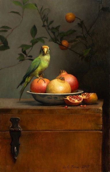 Ann Long Fine Art - Still life with Parrot and Pomegranates. Oil on linen