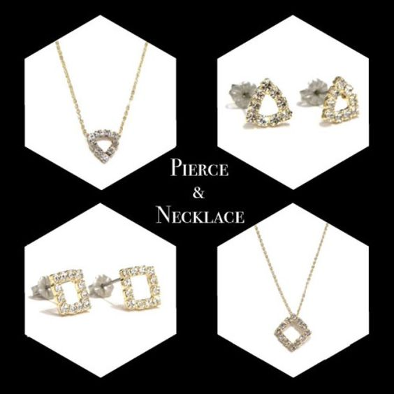 necklace  n067 A/B ラインストーン ¥2,300+税  pierce  p074 A/B  ラインストーン/チタンポスト ¥3,000+税