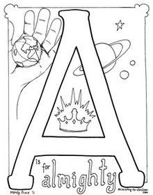 Bible Alphabet coloring pages. A is for Almighty!