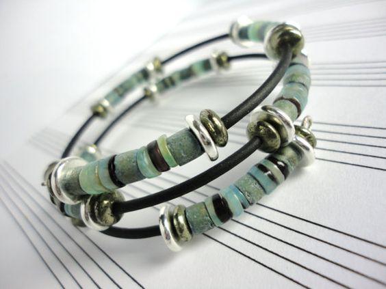 Gentleman's Bluestone Wrap Bracelet by LyndaHayesDesigns on Etsy, $53.00