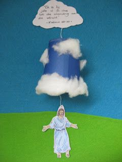 Ascension Day Craft idea from Joyful Mama's Place - pull the verse-cloud so that the string pulls Jesus up into the cloud (in a paper cup)