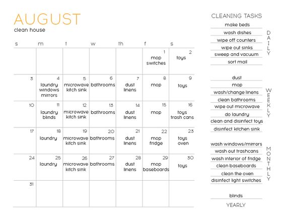 August Fillable Cleaning Calendar - A Real-Life Housewife cleaning