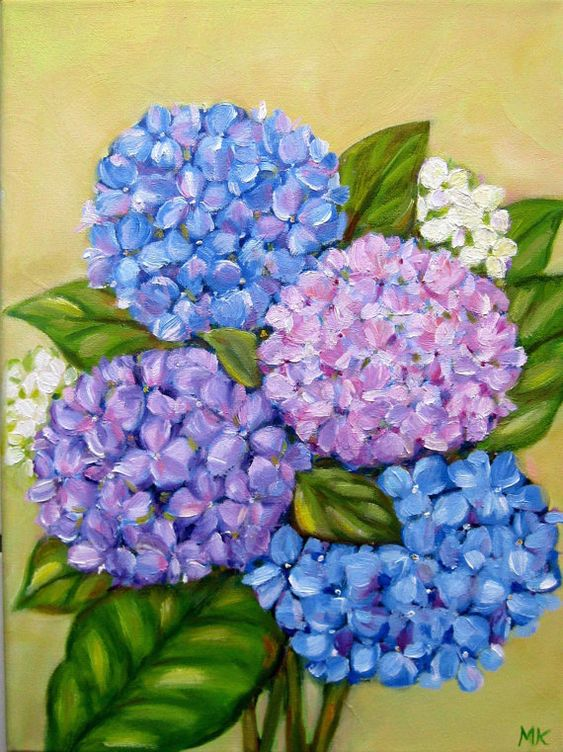 Hydrangea Flower Oil painting .: